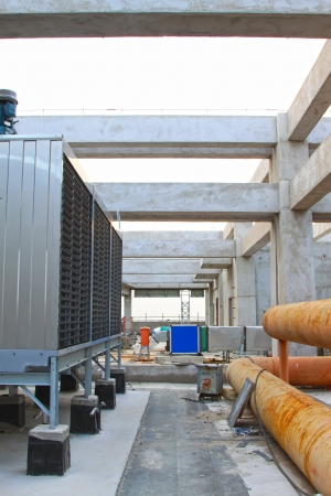 exhaust fan: Exhaust fan and pipeline construction site in a production workshop