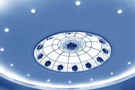 glass ceiling: glass chandeliers hanging from the ceiling