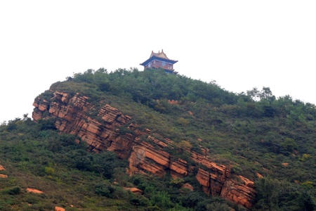 the humanities landscape: Religious architecture landscape in a mountain, China