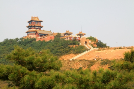 the humanities landscape: temple at the top of a mountain, in China