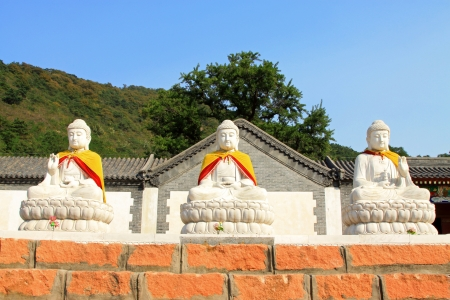 bodhisattva: White marble Bodhisattva sculpture in a monastery, Tangshan City, Hebei Province, China  Stock Photo