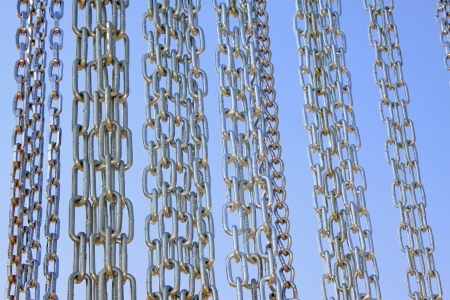 Stainless steel chains on blue sky background, in a market Stock Photo - 21187613