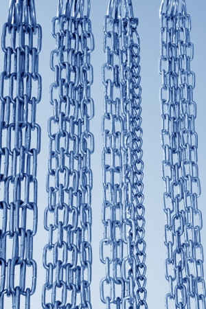 Stainless steel chains on blue sky background, in a market Stock Photo - 21187616