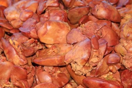 higado de pollo: Caracter�sticas chinese food - h�gado de pollo cocido, detalle de delicadeza Foto de archivo