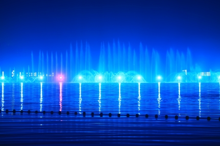interesting music: lights, colors and music spectacle at night in a park, north china