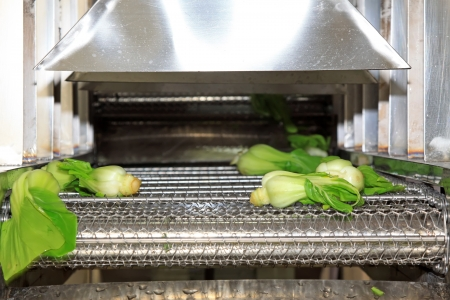 vegetables in the automatic cleaning equipment, in a vegetables production line