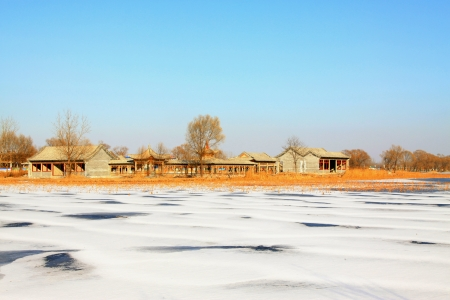 Buddhist Temple Landscape Architecture in the snow, in north China photo