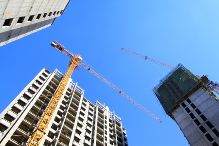 unfinished building: unfinished building under the blue sky, in China Stock Photo