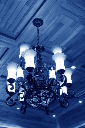 glass ceiling: glass chandeliers hanging from the ceiling in a hotel Stock Photo