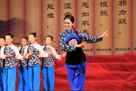 liu: LUANNAN - MAY 13: Pingju opera Liu Qiaoer. stills on the stage on May 13, 2013, Luannan County, Hebei Province, china.   Editorial