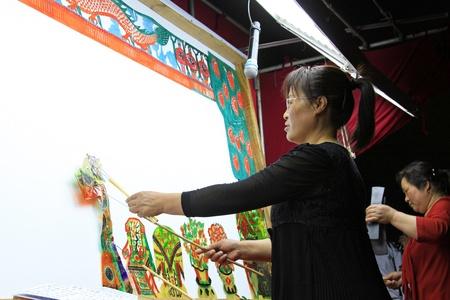 repertoire: Luannan - mei 15 Prestaties van traditionele schaduwspel op 15 mei 2013, Luannan, Hebei Province, china