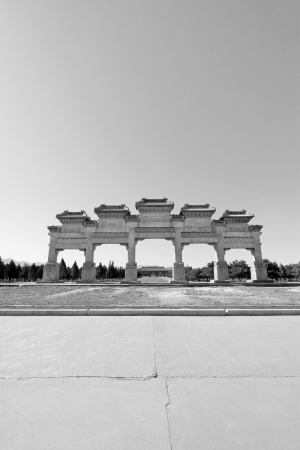 ZUNHUA - MAY 11: The Great Stone arch in the Eastern Royal Tombs of the Qing Dynasty on May 11, 2013, Zunhua, Hebei Province, china.