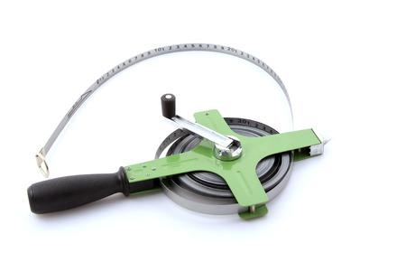 standard steel: steel tape - measuring tool, closeup of photo Stock Photo