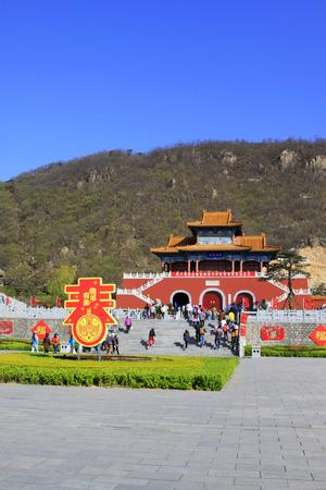 restore ancient ways: JI COUNTY - APRIL 5: Tourist area entrance landscape architecture in Panshan Mountain scenic spot, April 5, 2014, ji county, tianjin, China.