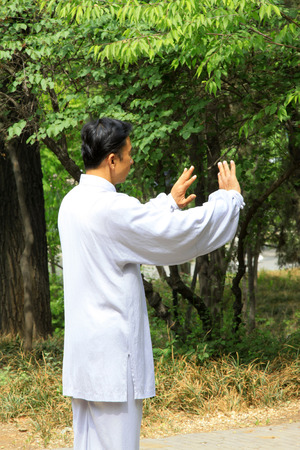 TANGSHAN - MAY 10: elderly practicing martial arts in a park on May 10, 2014, tangshan city, hebei province, China.  Stock Photo - 28690349