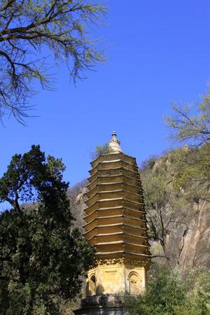 restore ancient ways: JI COUNTY - APRIL 5: ancient buddhist stupas, Panshan Mountain scenic spot, April 5, 2014, ji county, tianjin, China.