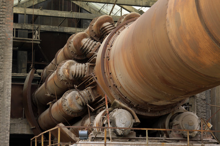 abandoned rotary kiln, in a cement plant, closeup of photo