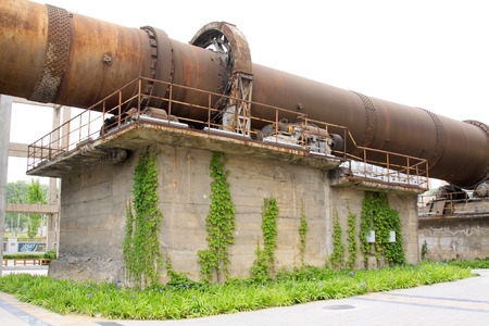 kiln: abandoned rotary kiln, in a cement plant, closeup of photo