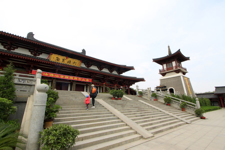 hebei province: TANGSHAN - MAY 10: Buddhism building scenery in Xingguo temple on May 10, 2014, tangshan city, hebei province, China.