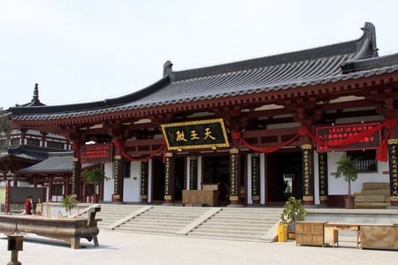 hebei province: TANGSHAN - MAY 10: Hall of heavenly kings in Xingguo temple on May 10, 2014, tangshan city, hebei province, China.