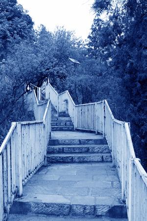 restore ancient ways: metal railings in a park, closeup of photo