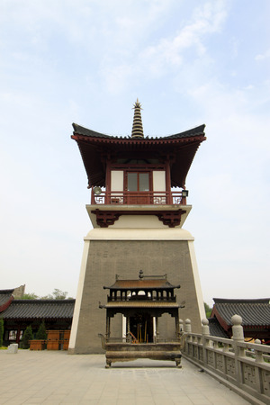hebei province: TANGSHAN - MAY 10: Bell tower and drum tower in Xingguo temple on May 10, 2014, tangshan city, hebei province, China.