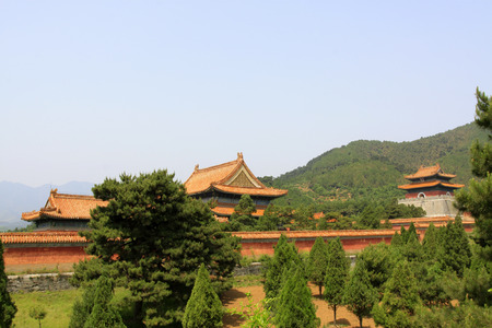 the humanities landscape: ZUNHUA MAY 18:Building scenery in the Eastern Tombs of the Qing Dynasty on may 18, 2014, Zunhua county, Hebei Province, China.