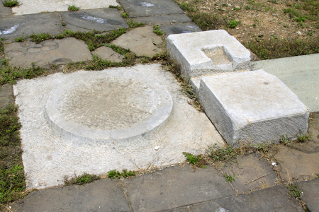 broken cornerstone, Eastern Tombs of the Qing Dynasty, China.