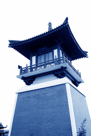 hebei province: Bell tower and drum tower in Xingguo temple, tangshan city, hebei province, China.    Stock Photo