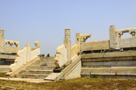 broken hill: ZUNHUA MAY 18: debris white marble railings, Eastern Tombs of the Qing Dynasty on may 18, 2014, Zunhua county, Hebei Province, China.
