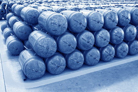 semifinished: Metal pressure tank piled up together, closeup of photo  Stock Photo