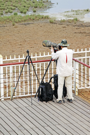 protectorate: QINHUANGDAO CITY- JUNE 1: Male photographer was photographing in a wetland park, June 1, 2014, Qinghuangdao city, Hebei Province, China