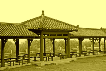 the humanities landscape: chinese ancient architecture landscape in Film shooting base, Zhuozhou City, Hebei Province, China.