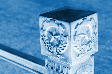 five star: closeup of five star sculpture features, old metal products  Stock Photo