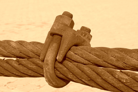 fasteners: closeup of pictures, rusty steel wire rope Stock Photo