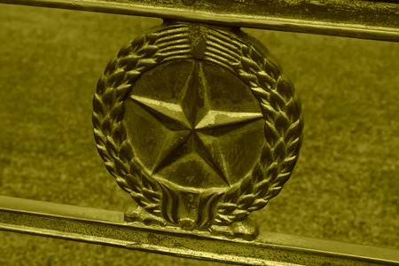 five star: closeup of five star sculpture features, old metal products  Editorial