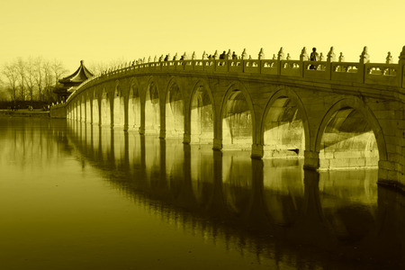 seventeen: Seventeen Holes Bridge scene in the Summer Palace, Beijing, china