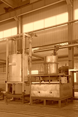 filling equipment: manufacturing production line filling equipment in a workshop Stock Photo