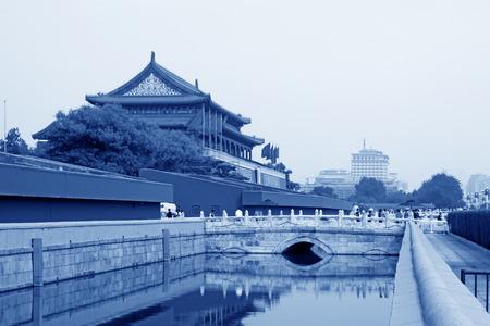 white marble: Beijing September 11th: Tiananmen tower and white marble Jinshui bridge in Beijing on September 11, 2011.