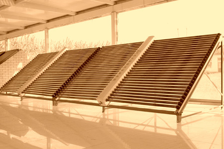 utilization: solar water heater parts in a hall Stock Photo