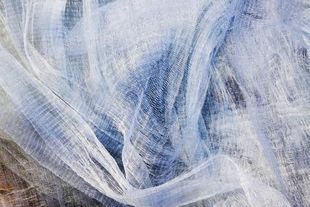White nylon fishing nets, closeup of photo Stock Photo