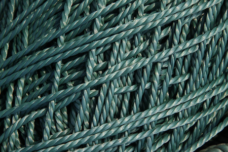 strong toughness: Blue nylon rope, closeup of photo Stock Photo