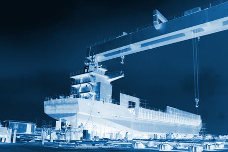 freighter: being constructed in the freighter in a shipyard, north china Stock Photo