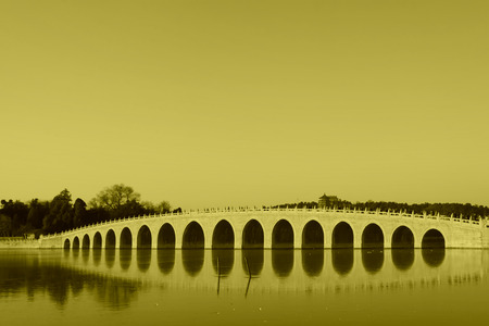 the humanities landscape: Seventeen Holes Bridge scene in the Summer Palace, Beijing, china