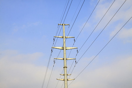 solid wire: high voltage electric power steel tube tower under sky, north china