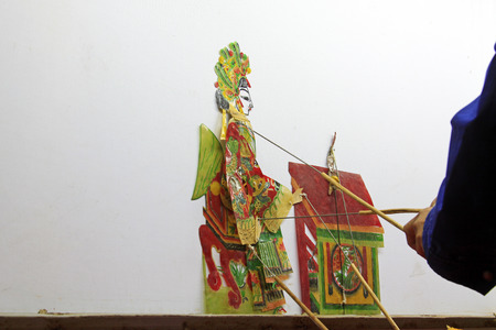 nonphysical: Chinese shadow play performances scene, closeup of photo Stock Photo
