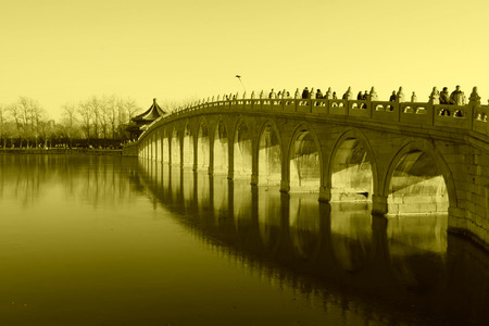 the summer palace: Seventeen Holes Bridge scene in the Summer Palace, Beijing, china