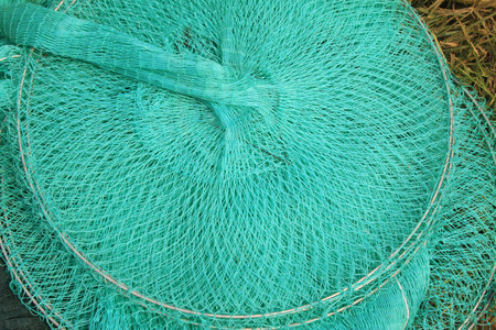 silk screen: Nylon fishing nets in a market, closeup of photo