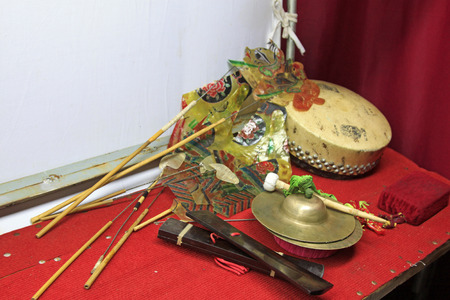 nonphysical: shadow play props and Percussion instruments, closeup of photo