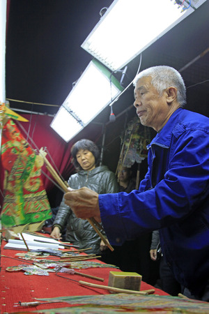 nonphysical: LUANNAN COUNTY- OCTOBER 2: Chinese shadow performances scene, on october 2, 2014, Luannan, Hebei Province, china.